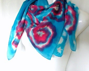 Hand Painted Silk Scarf Square Abstract Design Turquoise Red White