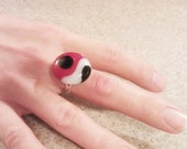 Black White and Red Cocktail Ring - Fused Glass