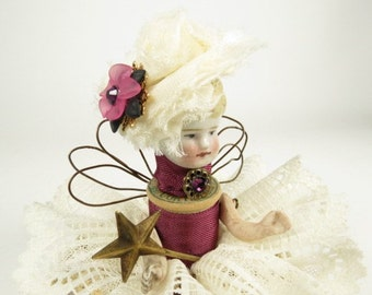 "Assemblage Angel ""Tiny Mauve""  Assemblage Art Doll, Antique Doll Parts, Vintage Style Art Doll"