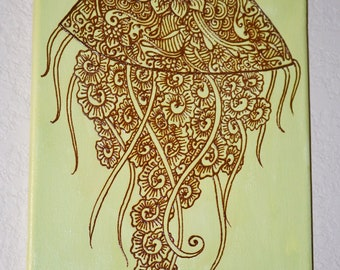 Jellyfish Painting Henna Art, Mixed Media Painting Henna on Acrylic, Global Art, Unique, OOAK, Global Art