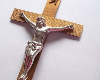 """20's Brass Cross Jesus on the Cross ,13"""" by 6 1/4"""" Wall Hanging,Home decor Large Crucifixe"""
