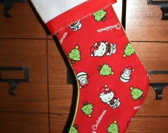 Cat Inspired Handmade Christmas Stocking Last One Clearance