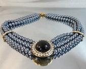 Vintage Gray Faux Pearl Necklace. Black Mabe. Rhinestone Enhancer. Triple Strand. Bride. Wedding.