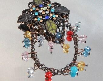 Vintage Leaf Brooch. Copper. Dangling Crystals.  Rhinestones. Poured Enamel.