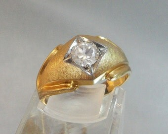 Vintage Men's Ring. Large CZ Solitaire.14k Gold Electroplated.