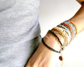Mix and match  - Three stacking bracelets Bohemian style your colors choice orange turquoise red black coral - everyday bracelet  boho jewel