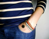 Bohemian bracelet Indie style - Boho chic red turquoise stacked stacking golden chain bracelet