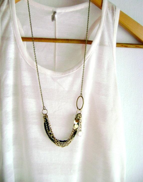 Sparkle - Black golden multiple chains bohemian long necklace