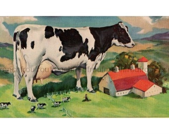 vintage big milking cow farm illustration digital download