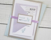 Hydrangea Wedding Invitation - Purple and Blue Elegant Pastel Country Floral with Baby's Breath. Purchase this listing for a Sample.