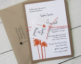 Palm Tree Wedding Invitation - Rustic Vintage Beach Hawaiian Ocean Tropical Twine.  Purchase this listing for a Sample.