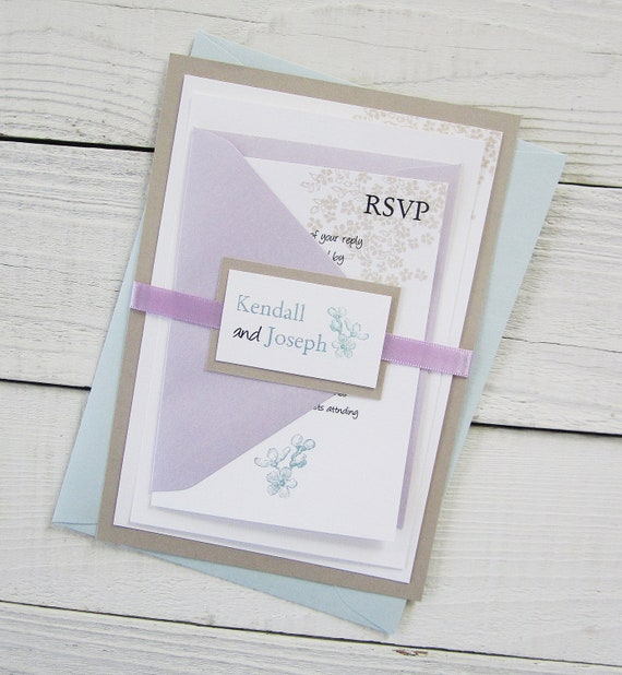 Baby Blue Wedding Invitations: Purple And Blue Elegant Pastel Country Floral