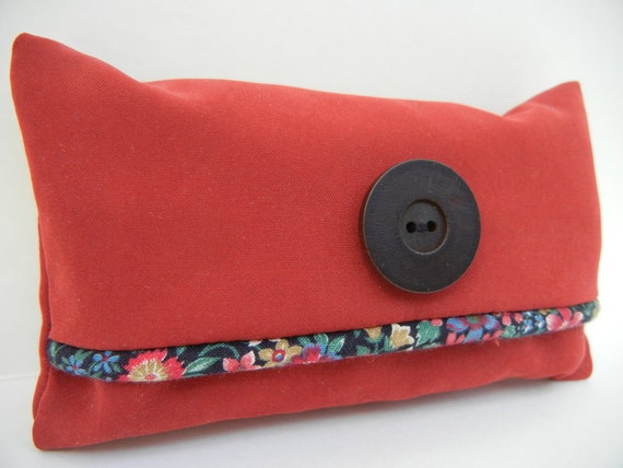 Tissue Cover - Pocket Tissue Cozy - Red Suede and Wood Button - Tissues Included