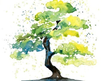Bonsai-Landscape painting-Watercolor-Archival Large Print from my original watercolor painting 11x14 inch