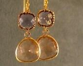 Tanzanite and Light Peach Glass Gold Bridesmaid Earrings, Bridal Earrings, Gold Earrings, Wedding Earrings, Bridesmaid Gifts (3675G)