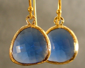 Sapphire Glass Gold Bridesmaids Earrings, Wedding Earrings, Gold Earrings, Bridesmaid Gifts (3321Wn)