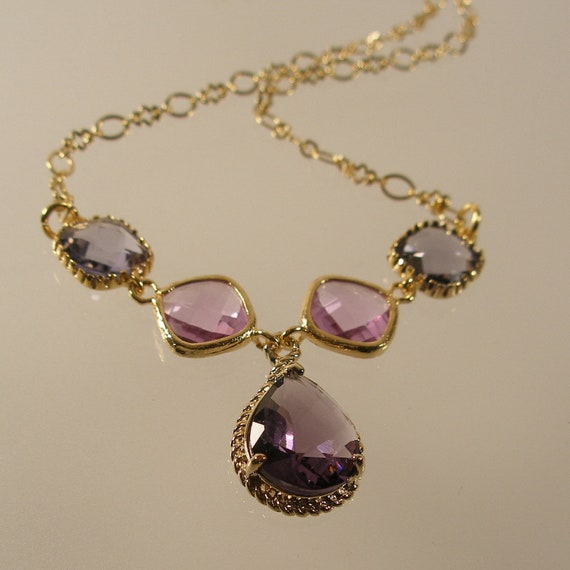 Amethyst Braid, Lavender, and Tanzanite Glass Gold Necklace, Bridesmaid Necklace, Wedding Necklace (4407W)