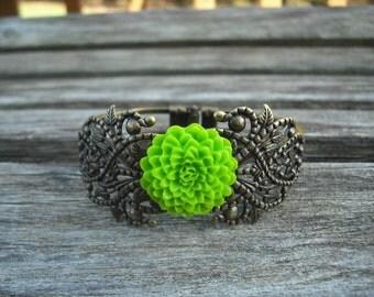 25% off - antique brass classic filigree cuff bracelet
