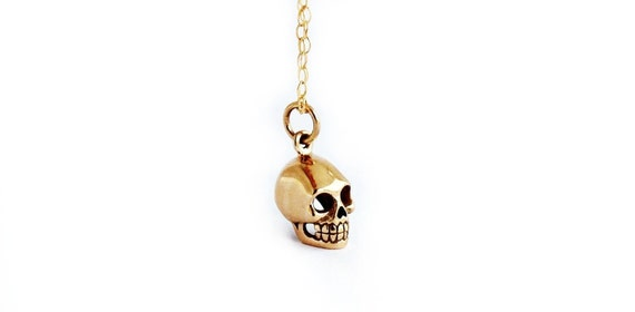 Skull Necklace in Bronze and Gold Filled