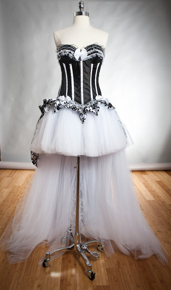 CLEARANCE Size Large Black and White taffeta and tulle Burlesque corset prom dress ready to ship