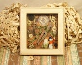 Vintage Handmade Shadow Box Collage-All Vintage Materials OOAK
