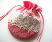 Bridal Jewelry Pouch Large Pink Felt Gift Bag with Broderie Anglaise Lace and Baroc Fresh Water Pearls