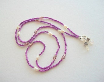 Purple Eyeglass Holder Beaded Lanyard with Vintage White Fresh Water Pearls