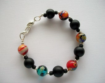 Murano Millefiori Bracelet Large Multicolor and Black Glass Beads