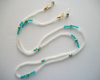 Crystal Eyeglass Holder Beaded Lanyard with Teal Bicone Crystals