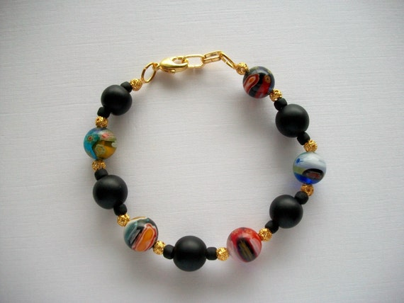 Murano Millefiori Bracelet Large Multicolor and Black Glass Beads Little Golden Filigree Beads