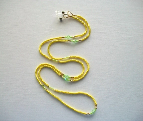 Eyeglass Necklace Beaded Lanyard with Light Olive Seed Beads and Light Green Bicone Crystals