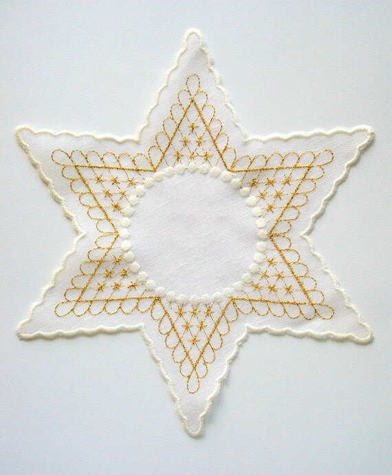 Star Doily with Scalopped Edge and Golden Embroidery Vintage