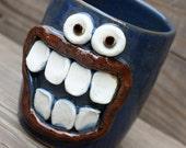 Toothbrush Holder. Handmade Stoneware  Pottery. Blue