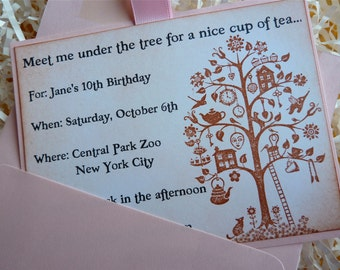 Tea Party Invitation, Wedding Bridal Shower, Birthday Party, Whimsical Vintage Style, 10 cards with envelopes