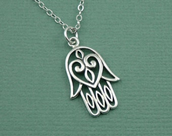 Hamsa Hand Necklace - Sterling Silver Hamsa Jewelry, Hand of Fatima Necklace, Buddhist Jewelry, Yoga Gifts, Hamsa Hand, Yoga