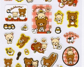 San-X Rilakkuma Bear Sticker Sheet - Egg Theme - B