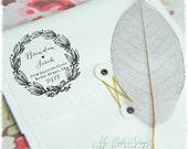 Vintage Wreath Stamp (Self Inking Address Stamp) Handwritten Wedding Calligraphy, DIY Weddings, Custom Address Stamp, Bridal Shower (P2332)