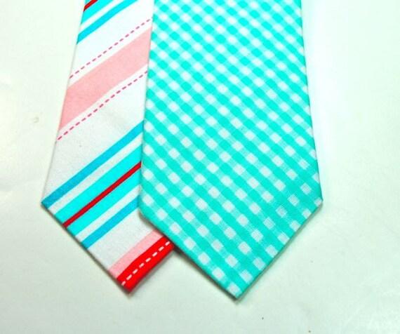 Neckties Coral And Aqua Mens Neckties Striped Neckties