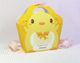 Kawaii Chick Giftbag Cute Valentine's Day Easter Love Birthday Party Treat basket Chick Bag Packaging Editable Printable PDF