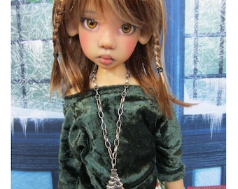 Christmas Outfit for Kaye Wiggs MSD BJD includes Ruffle Skirt, Crushed Panne Shirt and Leggings, Christmas Tree Necklace
