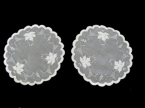 2 Vintage  Organdy Doilies Doily Doiley Organdie