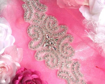 TS102 Large Victorian Silver Beaded Crystal Rhinestone Applique Motif 15""