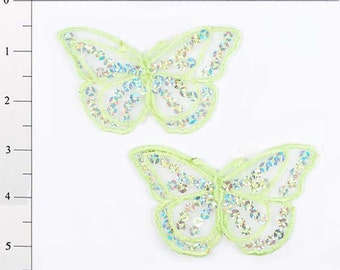 """E6322 Set of (2) Light Green Butterfly Sequin Embroidered Appliques 2.5"""" (E6322-lgr)"""