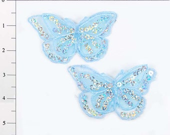 """E6322 Set of (2) Light Blue Butterfly Sequin Embroidered Appliques 2.5"""" (E6322-lbl)"""