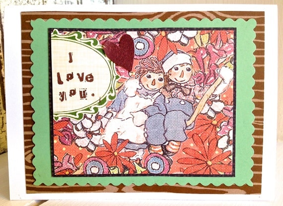 VALENTiNE . Raggedy Love CARD . Ann Rag Doll Andy 1960s 1970s Floral Ditsy Flowers Heart I Love You Wood Retro Boy Girl Tree 1611