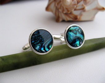 Paua Shell Inlay Cuff Links, Sterling Silver Plated or Gold Plated Cufflinks - Peacock Blue - Men - Wedding - Groomsmen Gift