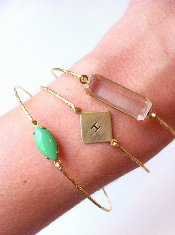 Lyndseypaints ONLY Custom Hand Stamped Gold Square Bangle