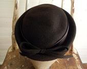 Vintage Hat, 1960s Brown Felt Hat