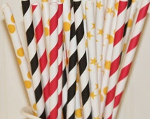 Paper Straws Movie Night Parties, 30 Assorted Paper Drinking Straws with DIY Flag, Red Carpet Parties, TV Awards Party,  Teen Parties,