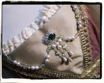 Green Peridot and White Pearl Bodice Jewelry Renaissance Tudor Necklace